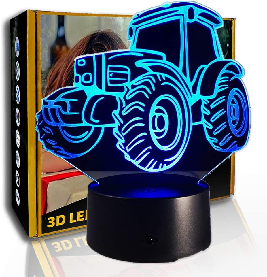 KangYD Lámpara de ilusión 3D Motor Tractor, luz nocturna LED, lámpara colorida, B - Base negra remota (7 colores), Lámpara moderna, Regalo de amante, Lámpara para dormir