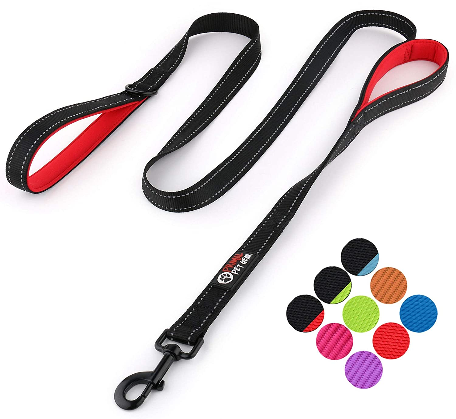 Double Handles Lead for Control Safety Training Leashes for Large Dogs or Medium Dogs Primal Pet Gear Dog Leash 6ft Long Heavy Duty Traffic Padded Two Handle