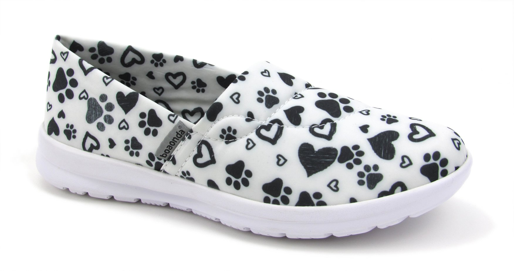 Ocean Women's Cute Memory Foam Nursing Shoes - Printed - Florence (10, Paws and Hearts W/B)