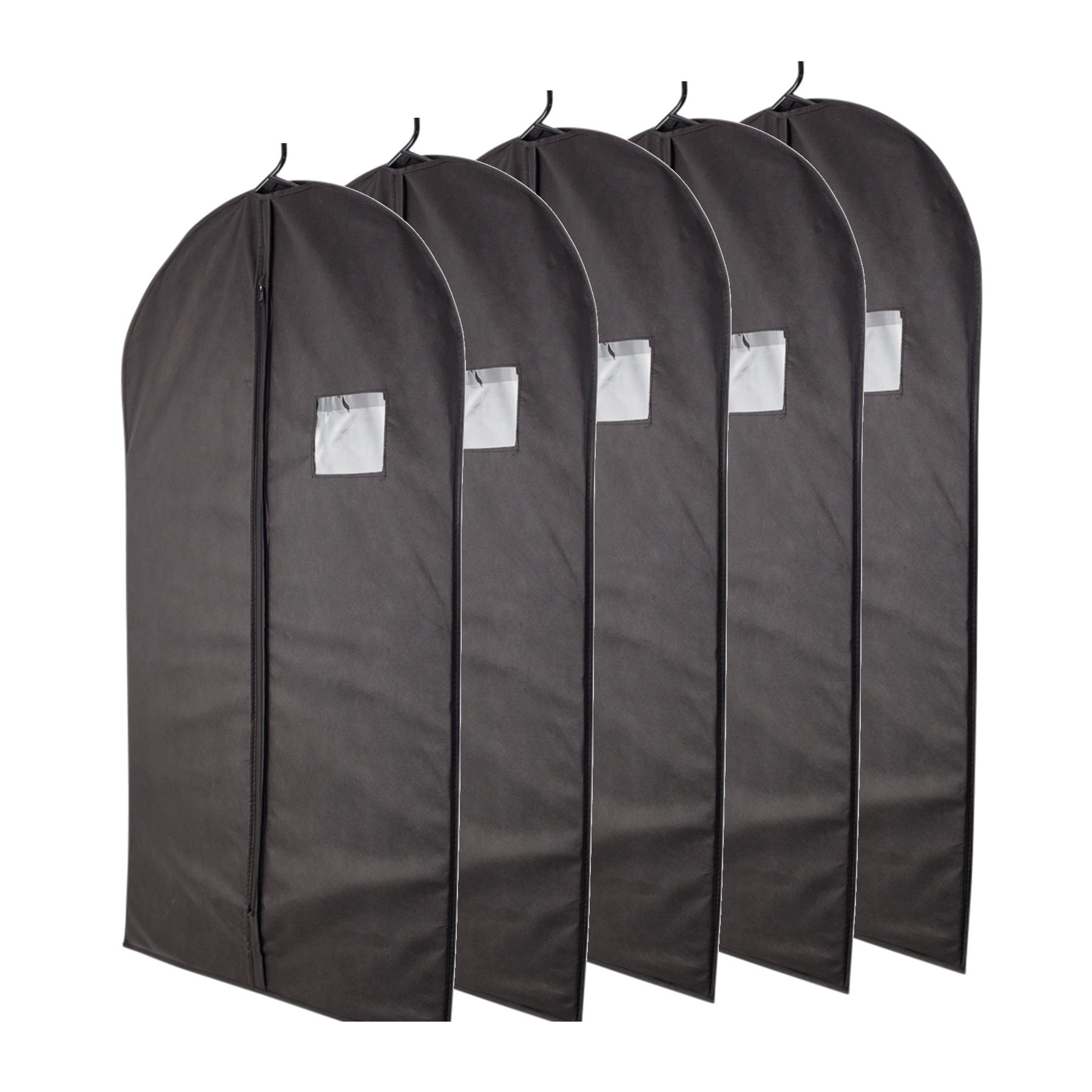 "Plixio 40"" Black Garment Bags for Breathable Storage of Suits, Dresses & Dance Costumes—Includes Zipper & Transparent Window (Pack of 5)"