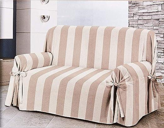 HomeLife – Cubre sofá de 3 plazas – Elegante Protector de sofás a Rayas – Funda de sofá de algodón para Proteger del Polvo, Las Manchas y el Desgaste, Fabricado en Italia –