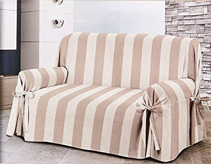 HomeLife - sillón/Sofá de Dos o Tres Puestos - Funda Elegante con diseño A Rayas - Tela de Algodón para Cubierta Sofá y protección de Polvo, Manchas, ...