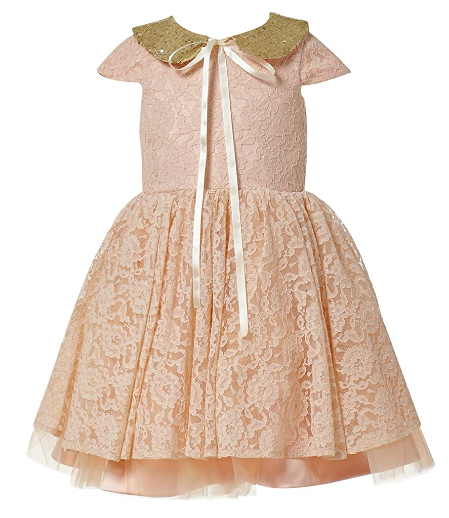 8079f1f72a74b Amazon.com: princhar Gold Sequin Lace Flower Girl Dress Girls Kids Toddler  Party Dresses: Clothing