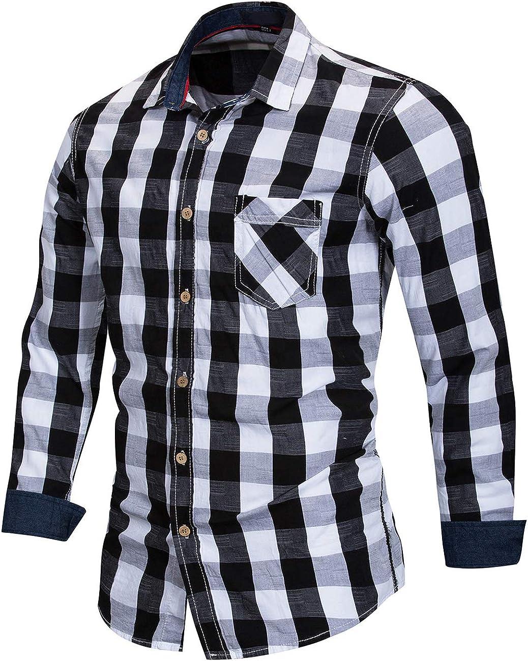 Pinkpum Mens Long Sleeve Checked Shirt Cotton Plaid Shirt Business Casual Dress British Stylish Classic Shirt Regular Fit Black-white