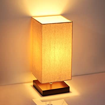 SHINE HAI Minimalist Solid Wood Table Lamp Bedside Desk Lamp Retro With  Fabric Shade Relax Lighting