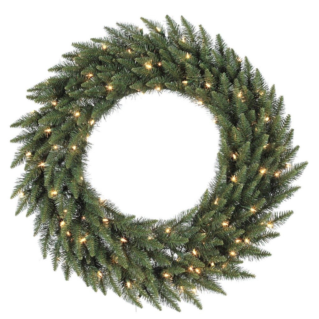 Vickerman Clear Dura-lit Lights Frosted Bellevue Alpine Artificial Christmas Wreath, 60-Inch
