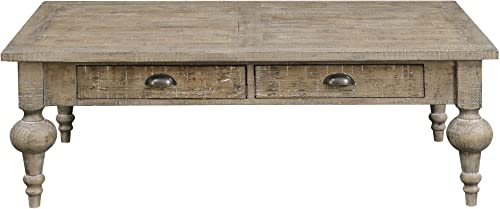 Tulare 52 Coffee Table in Sandy Beach with Two Drawers, Plank Style Top, And Turned Legs, by Artum Hill