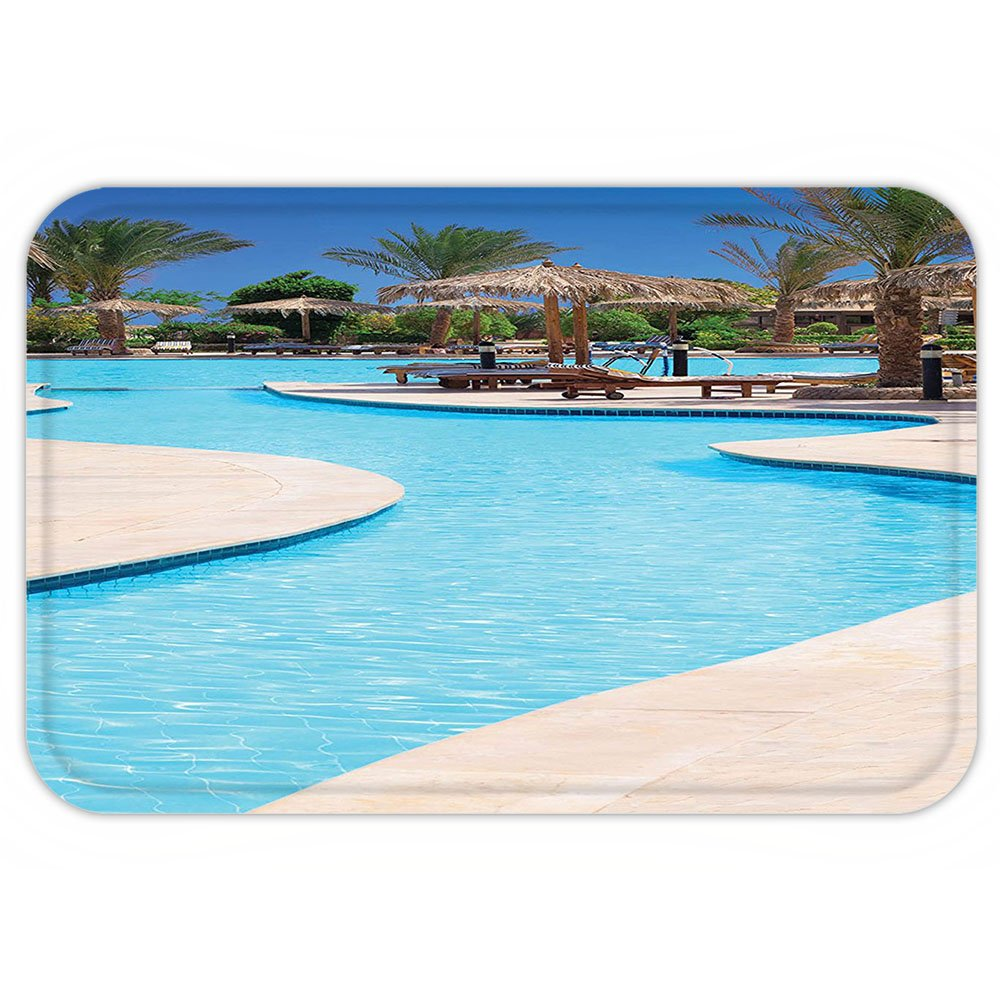VROSELV Custom Door MatHouse Decor Collection Swimming Pool Of Luxury Hotel resort holiday Relaxation Tourism Tourist Attraction