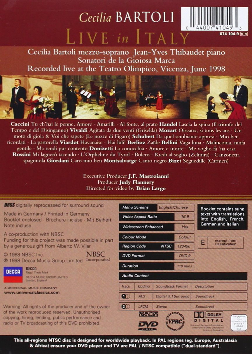Cecilia Bartoli - Live in Italy by IMPORTS