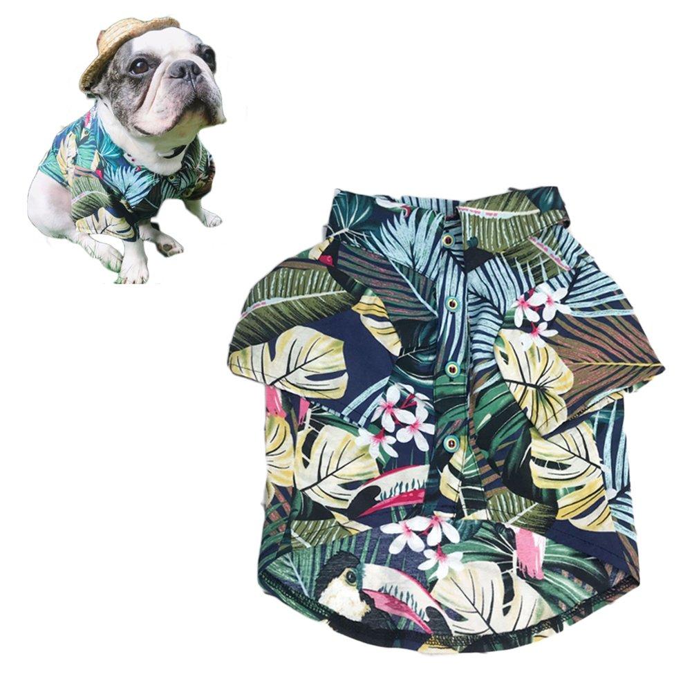 Meioro Vêtements pour animaux de compagnie chien vêtements confortable chien chemise style hawaïen station balnéaire style coton matériel chiot bouledogue français carlin (Blue-M)