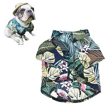 Meioro Ropa para mascotas Ropa para perros Cómoda camisa de perro Estilo hawaiano Estilo de vida costera Material de algodón Cachorro Bulldog francés Pug ...