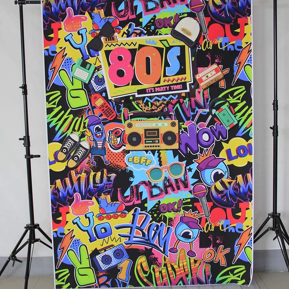 Mehofoto Fondale Hip Hop 5x7ft Vinile anni 80 Tema Anni 80 Decorazione Party Selfie Fondali Fondali per Foto Senza Soluzione di Continuit/à Leggera Facile Portare Foto Puntelli
