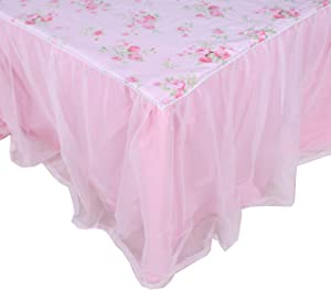 LELVA Dust Ruffled Bed Skirts Full Size Wrap Around Lace Bed Ruffle with Platform 18 inch Deep Drop Cotton Floral Girls Bed Sheets Pink