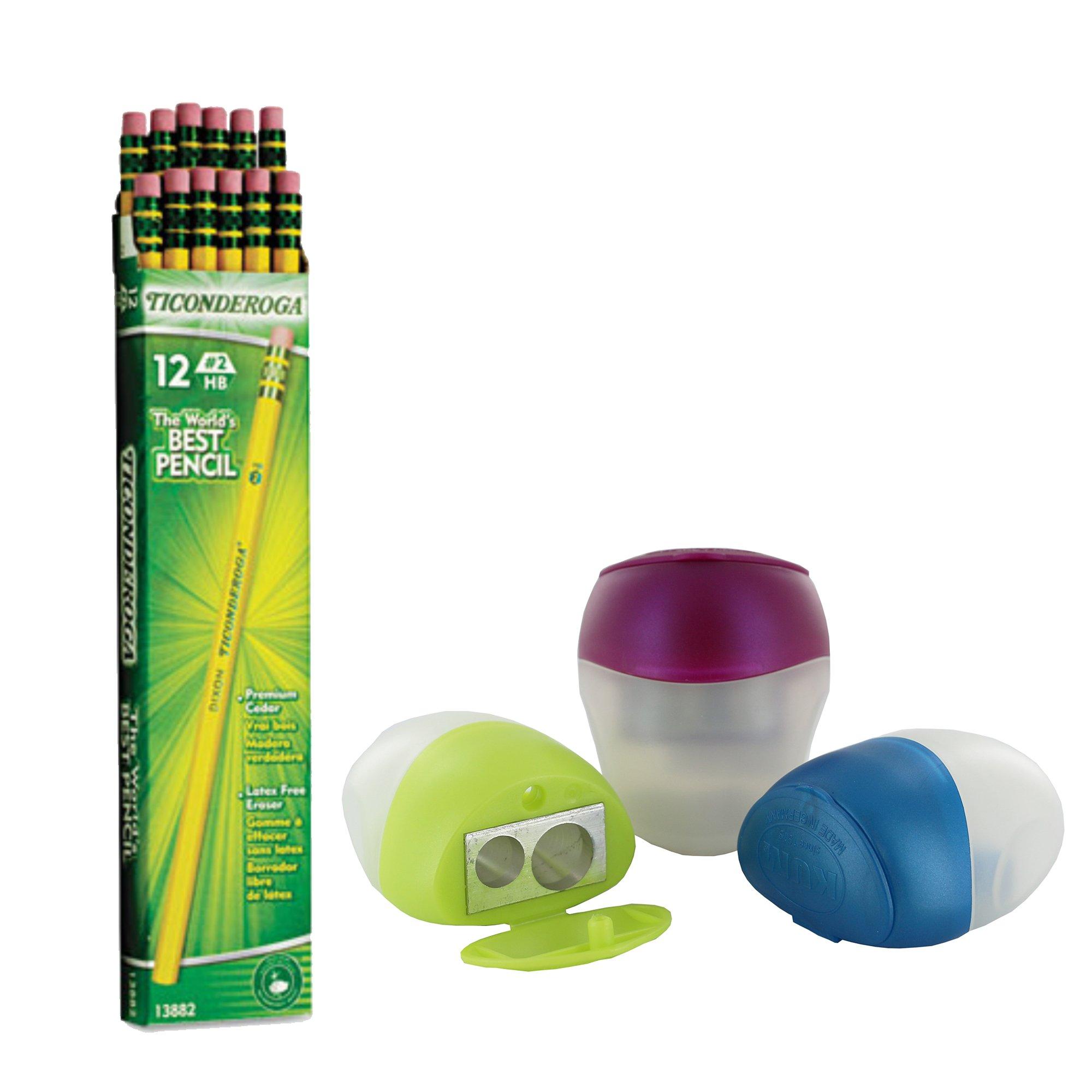 Dixon Ticonderoga Wood-Cased Pencils, 2 HB, Yellow, Box of 12, Including FREE BONUS Double Hole Pencils Sharpener (Metalic Colors - may vary)
