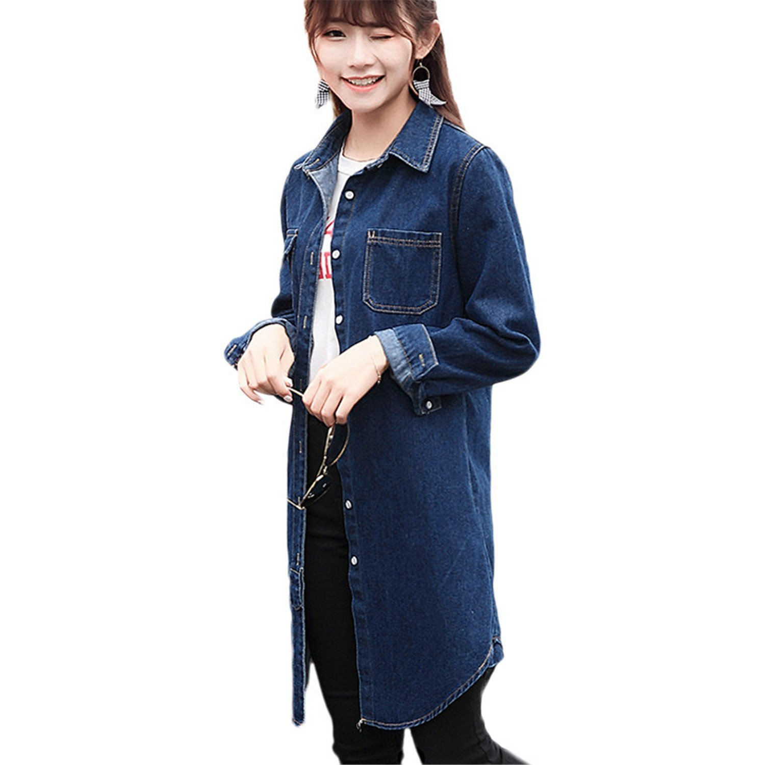 Toping Fine Spring Autumn Coat Women Vintage Slim single-breasted long-sleeve cool denim Trench Coat WICCON BlueXX-Large