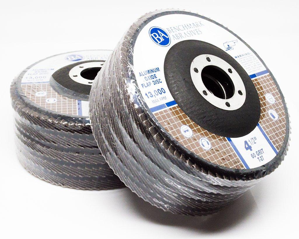 Benchmark Abrasives 4.5 x 7//8 Type 27 Aluminum Oxide Flap Disc 120 Grit 10 Pack