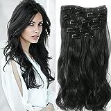 """22 """"Full Clip tete dans les extensions de cheveux boucles Wavy Ombre Dip Dye 7 Pcs Mix Brun Noir"""