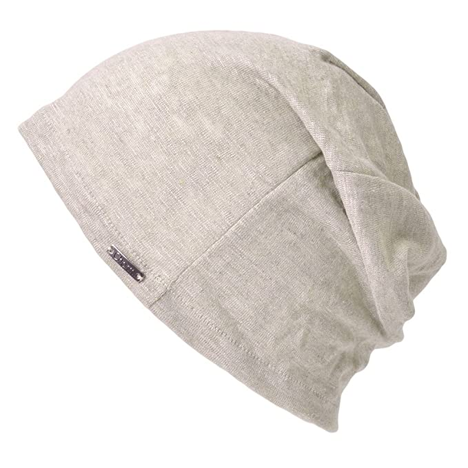 Linen Mens Summer Beanie - Slouchy Lightweight Knit Hat Cap Made in Japan  by Casualbox Biege cba266e3b5f