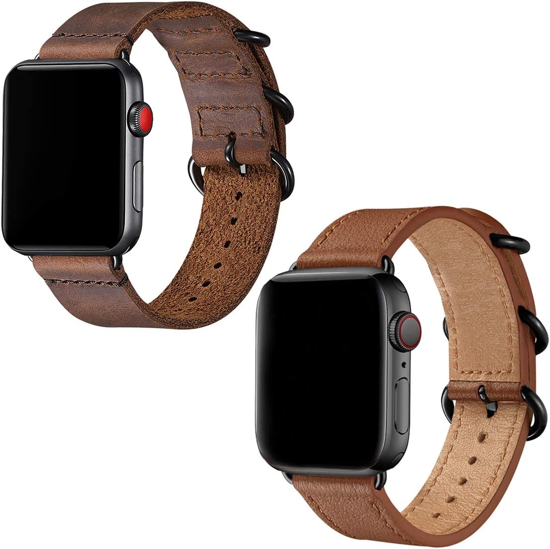 Leather Bands Compatible with Apple Watch band 42mm 44mm,Genuine Leather Strap Compatible for Men Women iWatch Series5 Series4/3/2/1(Brown+Black connector,42mm 44mm)