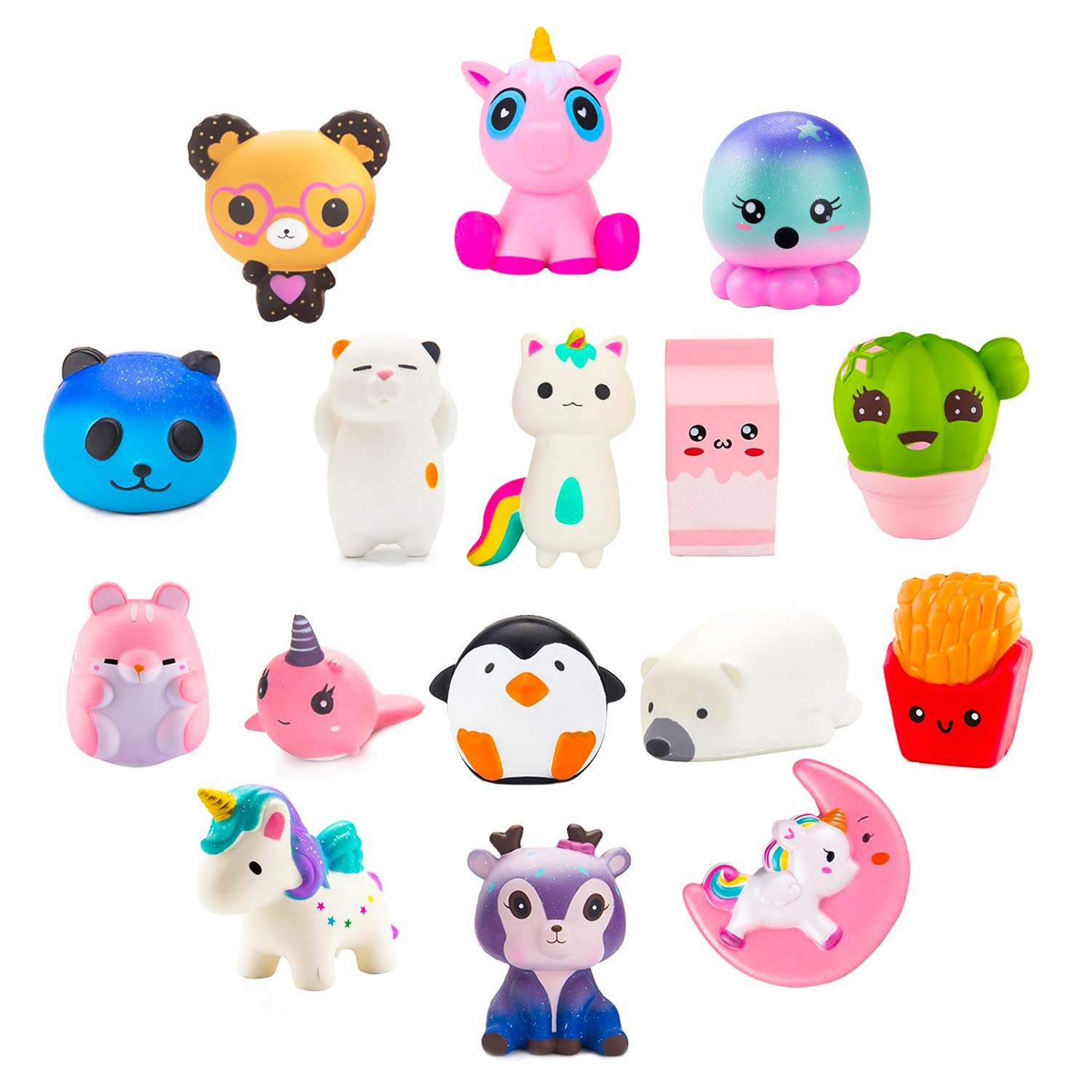 BeYumi Slow Rising Toy, Unicorn, Panda, Deer, Cat Squishy Toy, Kawaii Jumbo 10 Pcs Cream Scented Simulation Cute Animal & Food Squeeze Toys for Collection Gift, Decorative props Large or Stress Relief