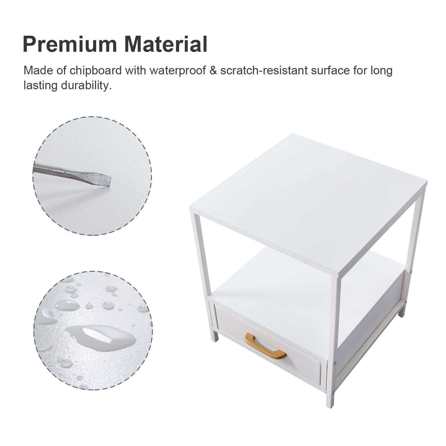White Sofa Table for Livingroom Square Nightstand with Fabric Drawer for Bedroom Modern Design 15.7 /× 15.7 /× 20 inches Lifewit 2 PCS 2-Tier Side Table End Table