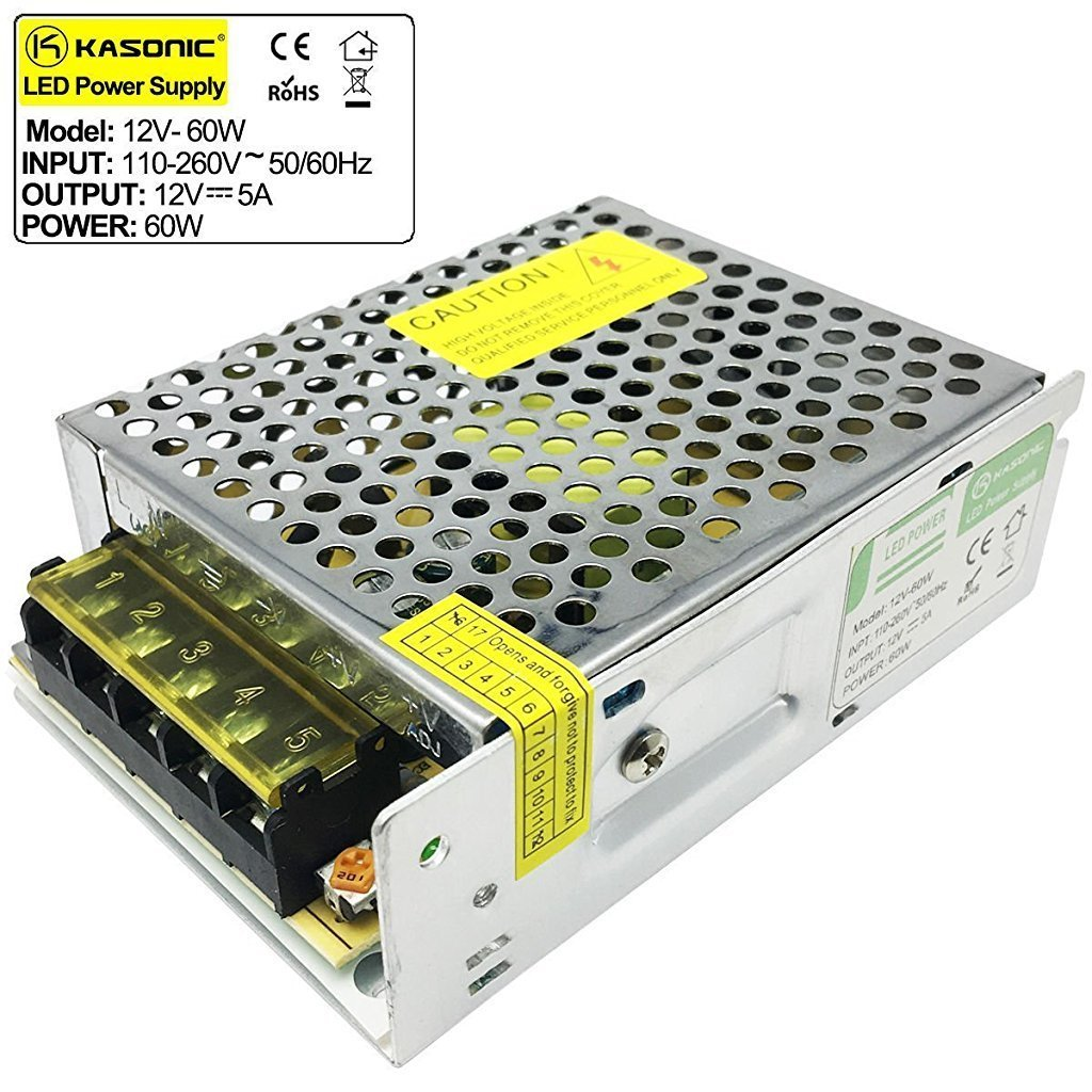 AC 110V-240V To DC 12V 5A(60W) Switching Power Supply Regulated Power Transformer Adapter for Industrial Automation, LED Strips,CCTV,Radio, Computer(12V5A)