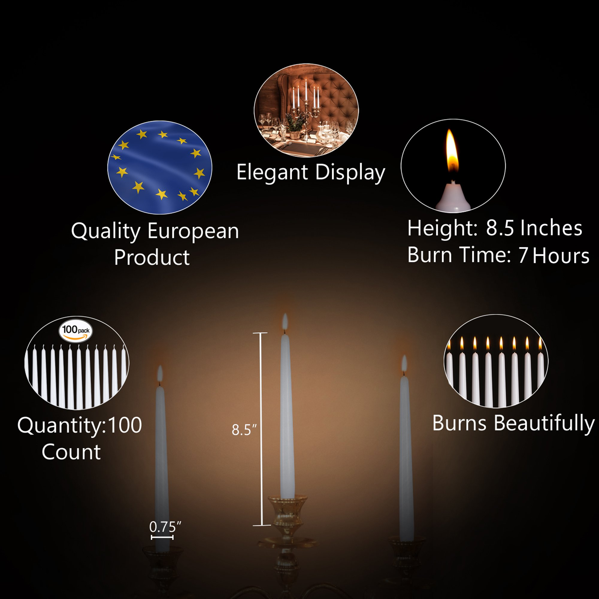 Ner Mitzvah 100 Pack Tall Taper Candles - 8.5 Inch White Dripless, Unscented Dinner Candle - Paraffin Wax with Cotton Wicks - 7 Hour Burn Time by Ner Mitzvah (Image #2)