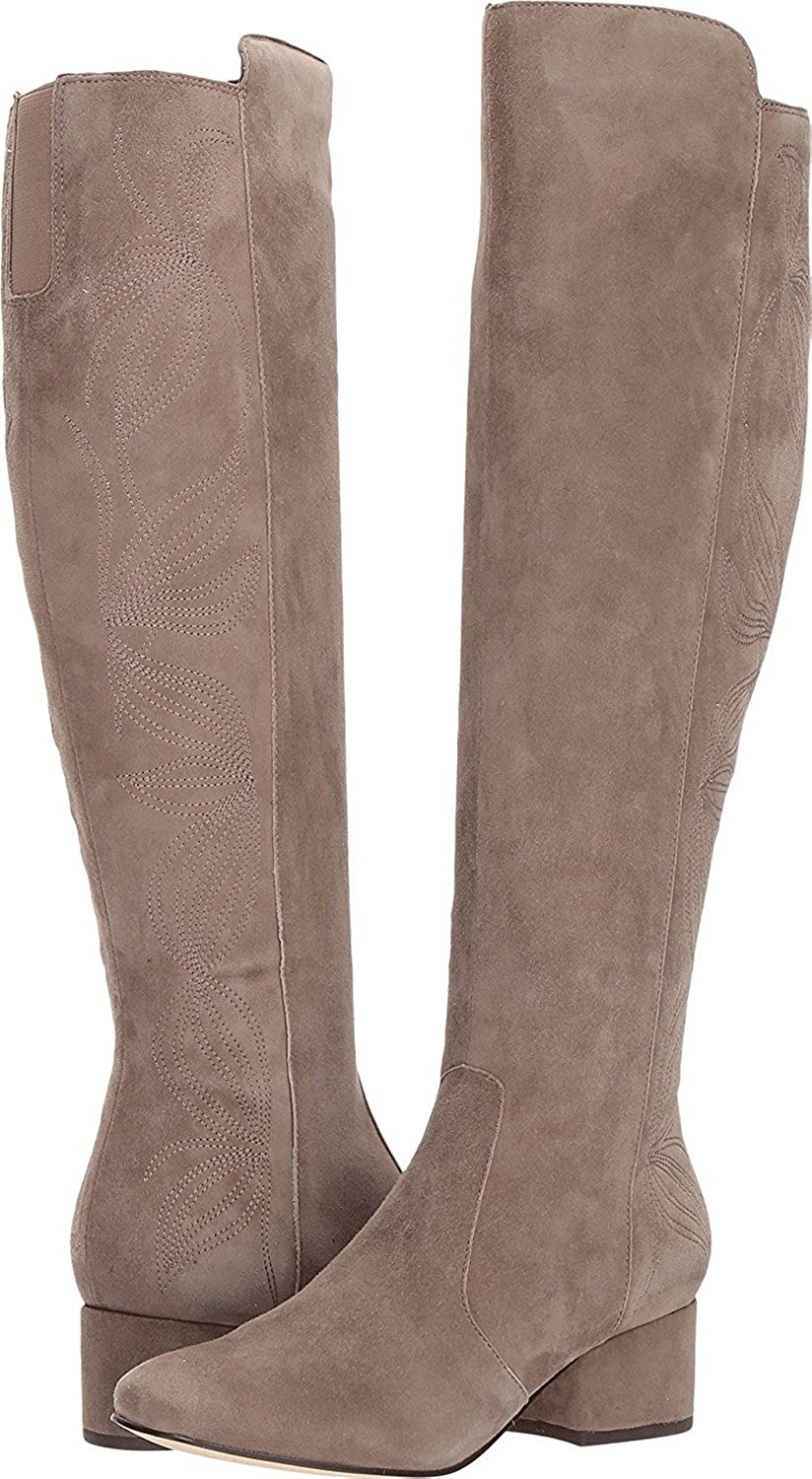 Womens Tawanna Almond Toe Knee High Fashion Taupe Suede Size 7.0