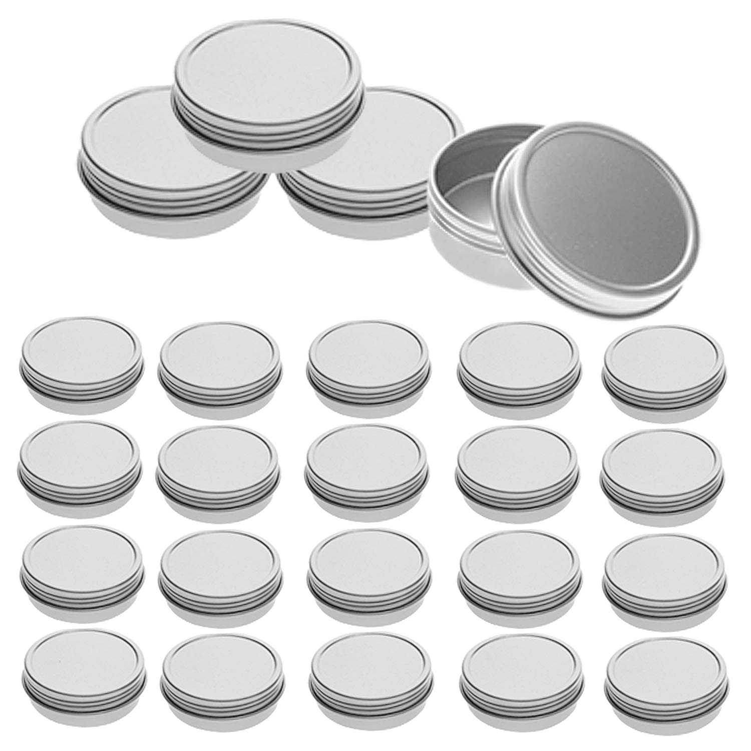 Mimi Pack 24 Pack Tins 2 oz Shallow Round Tins with Screw Lids Empty Tins Containers Cosmetics Tins Party Favors Tins and Food Storage Containers (Silver)