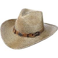 Stetson Sombrero de Paja Monterrey Bay Mujer/Hombre - Made in USA Hombre Vaquero Verano con Banda Piel Primavera/Verano