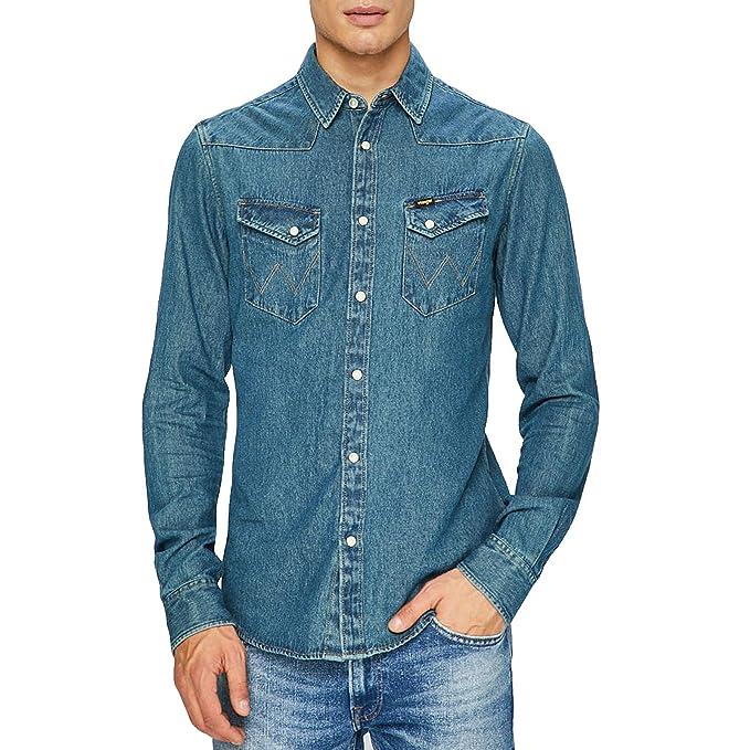 Wrangler - Camisa Casual - Manga Larga - para Hombre Morado añil L