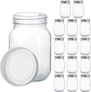 Glass Regular Mouth Mason Jars, 16 oz Clear Glass Jars with Silver Metal Lids for Sealing, Canning Jars for Food Storage, Overnight Oats, Dry Food, Snacks, Candies, DIY Projects (15PACK)