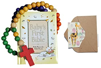 Bigdream Baby Catholic Baptism Gift Set, Includes Baby's First Rosary and Baby's First Bible,