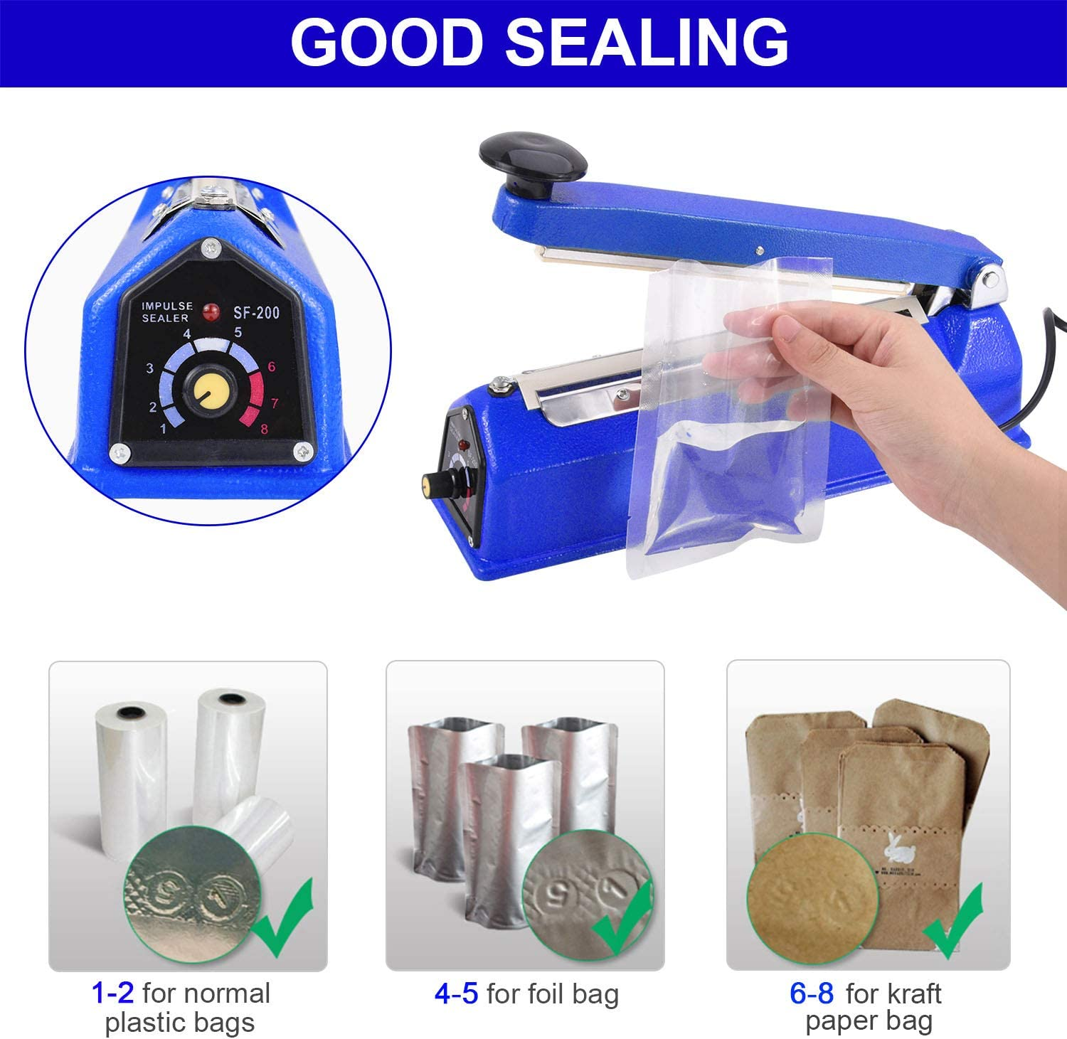 Suteck 8 inch Impulse Bag Sealer Sapphire Manual Poly Bag Sealing Machine w//Adjustable Timer Electric Heat Seal Closer with 50Pcs 4X6 Inch Shrink Wrap Bag and 2 Free Replacement Kit