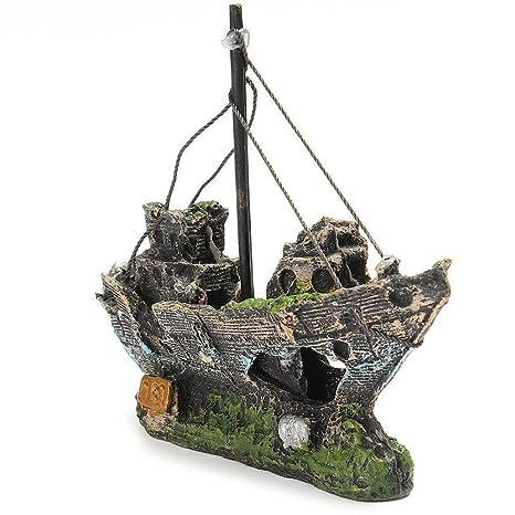 JinZhiCheng - Adorno de resina para acuario o pecera, diseño de barco pirata