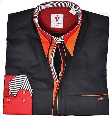 Leché - Camisa de diseño, color negro con cuello rojo y ...