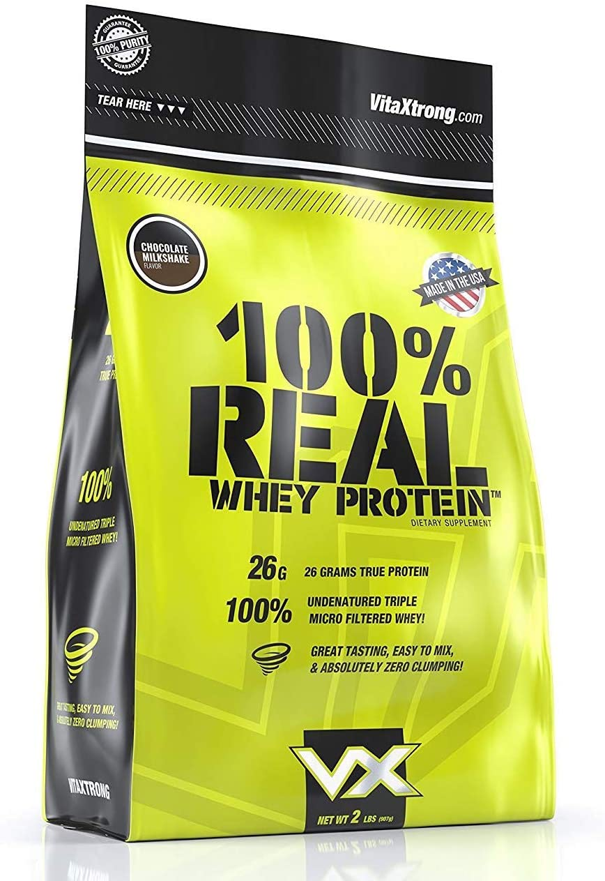 VitaXtrong 100 Real Whey Protein Powder 26g of Premium Whey Protein Isolate Blend Low Carb, Low Sugar, Low Fat Protein for Lean Muscle Increased Strength – Chocolate Milkshake, 2lbs, 26 Serv