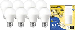 Miracle LED Yellow Bug Light MAX - Replaces 100W - A19 Outdoor Bulb for Porch and Patio - 8 Pack (604994)