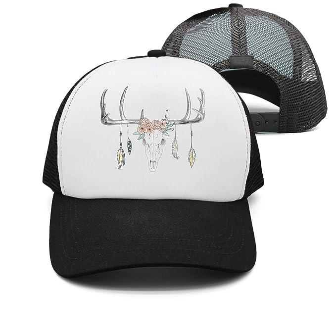 85067c82b69 Unisex Snapback Mesh Trucker Deer Skull Mask Baseball Cap for Women ...