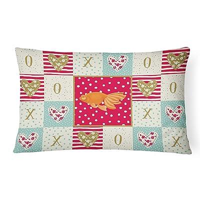 Caroline's Treasures CK5471PW1216 Celestial Eye Goldfish Love Canvas Fabric Decorative Pillow, 12H x16W, Multicolor : Garden & Outdoor