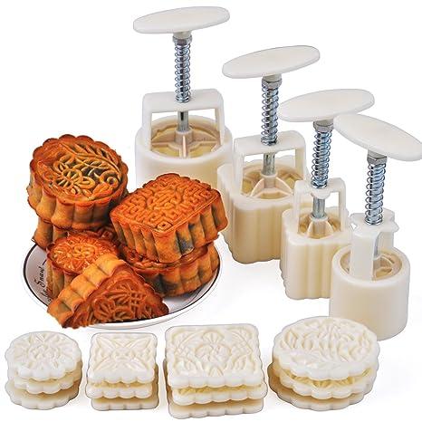 Laxury - Molde para pasteles de luna, 4 juegos de moldes con 12 sellos de
