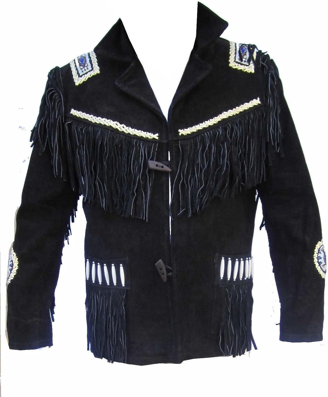 LEATHERAY Mens Fashion Western Cowboy Fringe /& Beaded Jacket Suede Leather Black