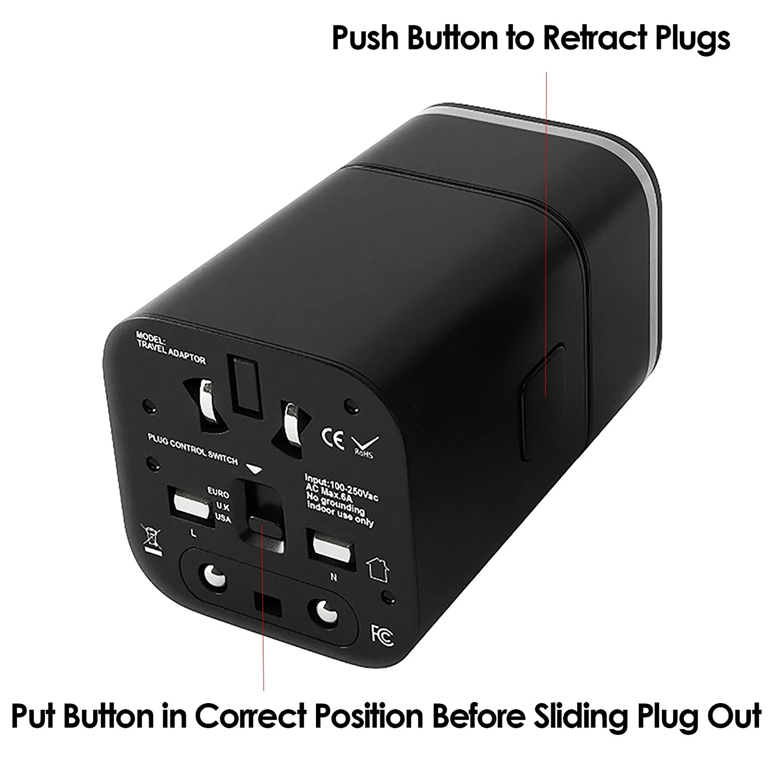 Venture 4th Worldwide Travel Adapter Charger All In One Electrical Plug Outlet And Voltage Information For Australia Dual Usb Charging Ports Uk Europe Black Cell Phones Accessories