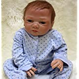 NPK Handmade Reborn Baby Doll Soft Vinyl Silicone 20inch Magnetic Mouth Baby Doll (blue)