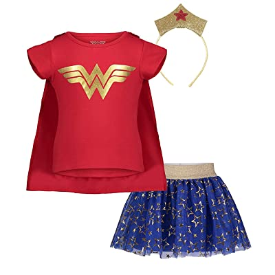 DC Comics Wonder Woman Girls' Costume Set: T-Shirt Skirt Cape and Tiara: Clothing