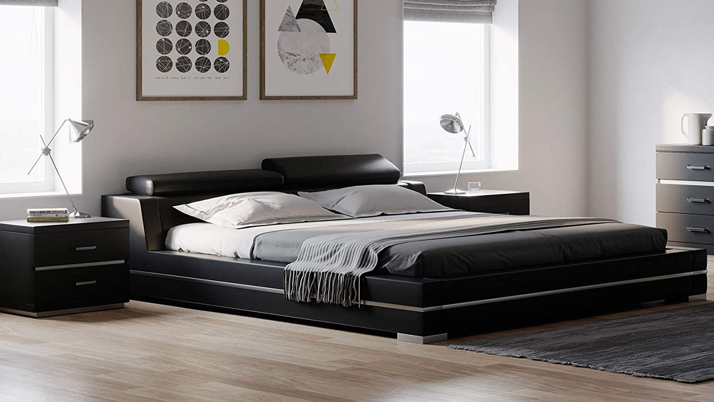 Amazon Com Hera Genuine Black Leather Platform Bed With Adjustable Headrests Queen Kitchen Dining
