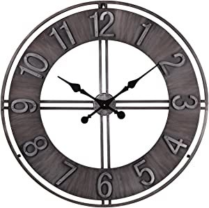 NIKKY HOME Metal Eye Vintage Large Round Wall Clock Battery Operated, 30''