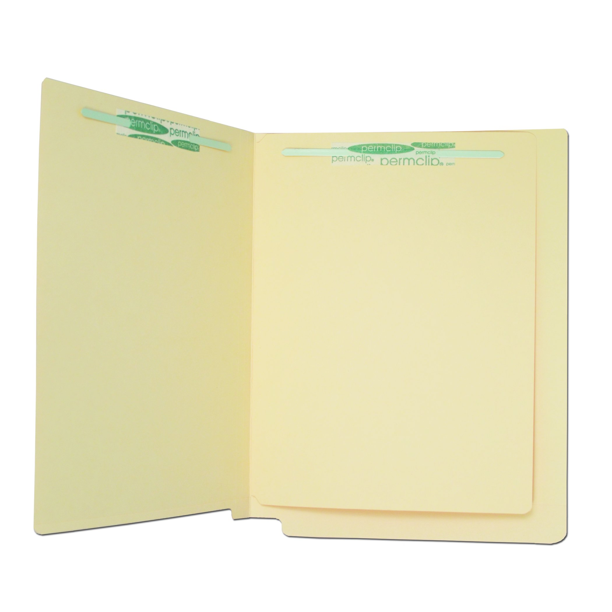 Manila File Folder with 4 Permclip Fasteners and 1 Divider- 11pt, Reinforced End Tab (200/Box)