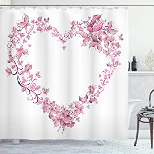 """Ambesonne Love Shower Curtain, Floral Love Romantic Shape Heart of Butterflies Valentine's Day Flowers Ornamental, Cloth Fabric Bathroom Decor Set with Hooks, 70"""" Long, White Rose"""