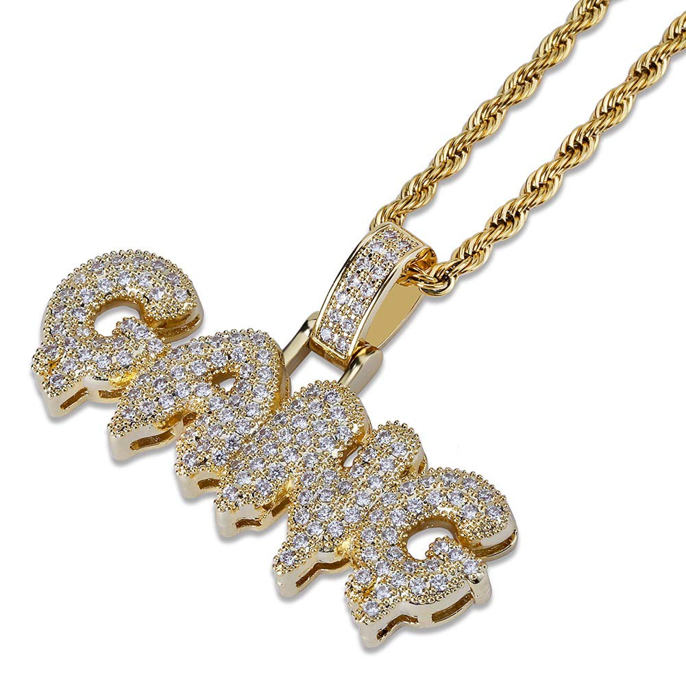 9e92bbd55 Amazon.com: HECHUANG Micropave Simulated Diamond Iced Out Custom Bubble  Letters Gang Dripping Initial Pendant with Rope Chain Hip Hop Necklace  (Gold, ...